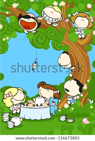 Group of friends drinking tea in a garden - stock vector