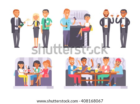 Group of friends enjoying evening drinks in bar alcohol people character vector illustration. Drunk people party and bachelorette party. Bachelor party alcohol people nightlife drunken leisure. - stock vector