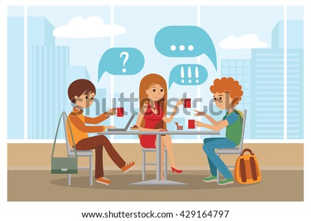 Group of friends in cafe - Vector Illustration with city landscape on window. People sitting at table at lunch talk and drink coffee and tea. - stock vector