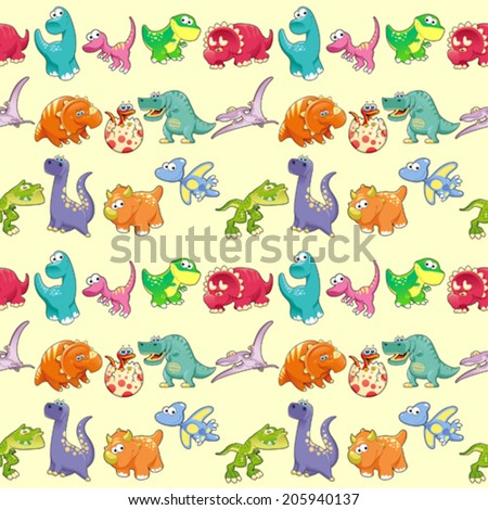 Group of funny dinosaurs with background. The sides repeat seamlessly for a possible packaging or graphic - stock vector