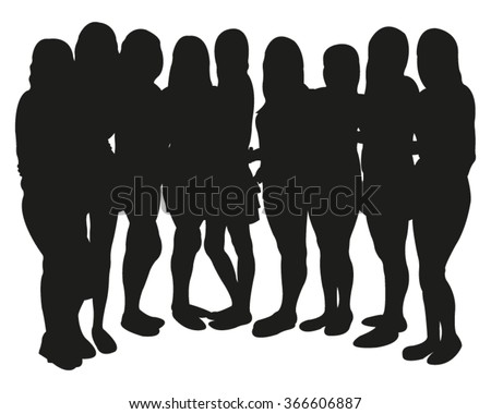 Group of girls silhouette - stock vector