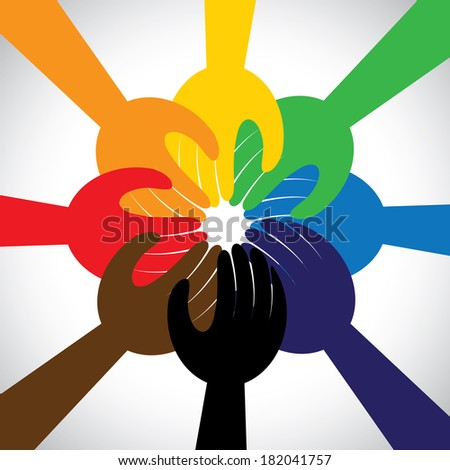 group of hands taking pledge, promise or vow - concept vector icon. This graphic in circle also represents unity, solidarity, teamwork, commitment, people friendship - stock vector