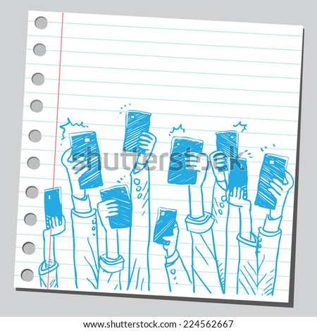 Group of hands with cell phones taking selfies - stock vector