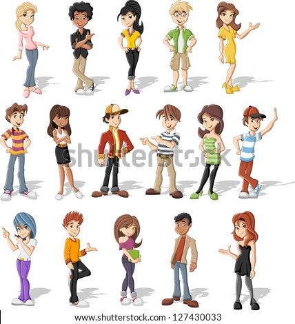 Group of happy cartoon teenagers - stock vector