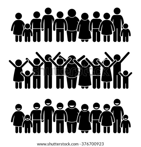 Group of Happy Children Standing Smiling and Raising Hands Stick Figure Pictogram Icons - stock vector