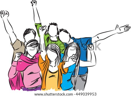 group of happy people illustration - stock vector