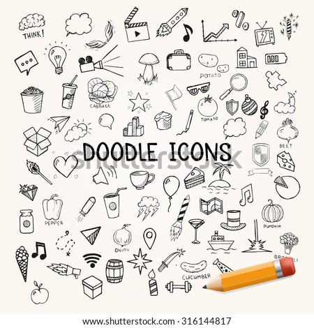 Group of icons, vector doodle objects - stock vector
