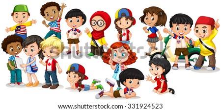 Group of international children illustration - stock vector