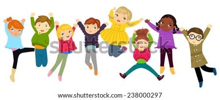 Group of jumping kids - stock vector