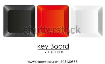 group of keys in three colors, white, black and red, vector illustration - stock vector