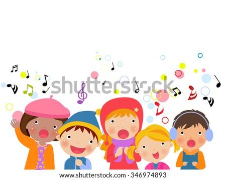Group of kids chorus singing Christmas songs. Vector illustration - stock vector