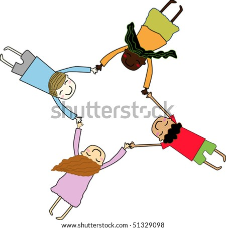 Group of kids of different nationalities - stock vector