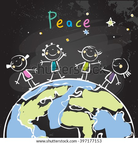 Group of kids, planet. Peace on earth, friendship, conceptual vector illustration. Chalk on blackboard doodle, sketch.  - stock vector