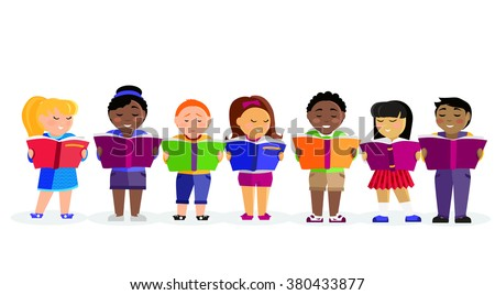 Group of kids studying and learning together. Boys and girl reading books. Various nationalities students reading books. Reading kid. Reading student. Kid reading open book. back to school - stock vector