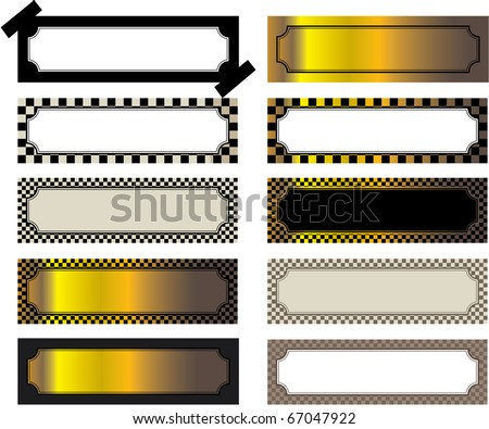 Group of labels of different forms with drawing. Vector - stock vector