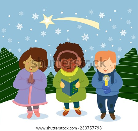 Group of multinational kids singing Christmas Carols, cartoon character illustration - stock vector