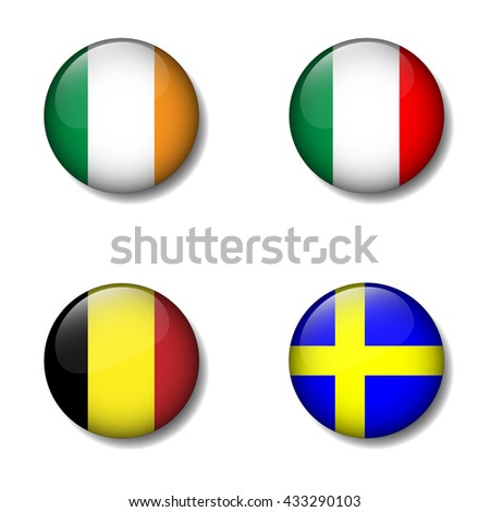 Group of Nation flag on button icon, Ireland, Italy, Belgium, Sweden, Group E - stock vector