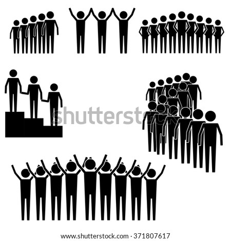 group of people and crowd gathering and lining up to lead info graphic icon vector sign symbol pictogram - stock vector
