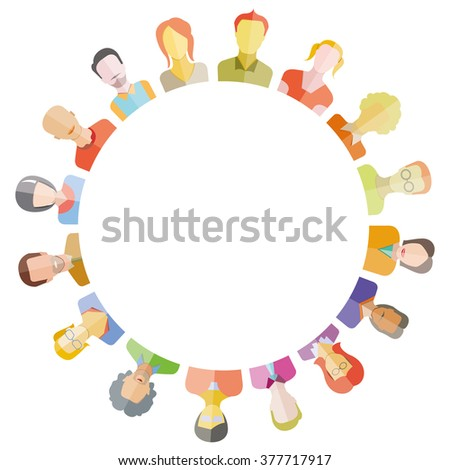 group of people around circle form and blank inter center for text - stock vector