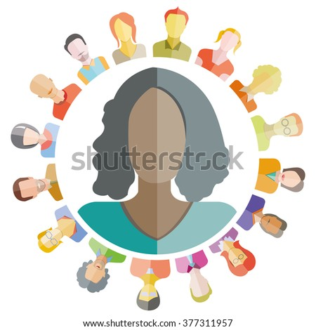 group of people around circle form, modern society, people connection - stock vector
