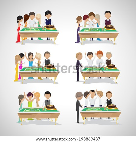 Group Of People Behind Roulette Table In A Casino Set - Vector Illustration, Graphic Design Editable For Your Design. People Celebrating A Gambling Night - stock vector