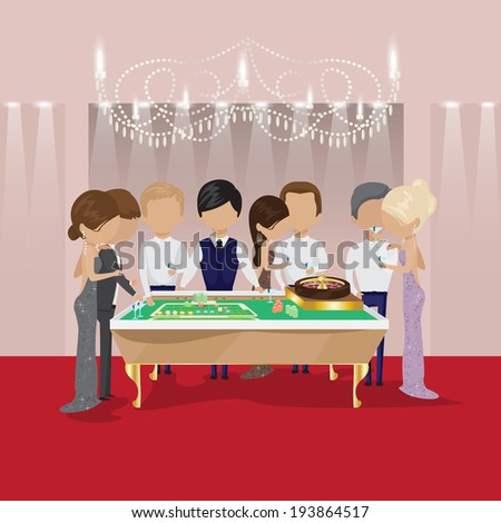 Group Of People Behind Roulette Table In A Casino - Vector Illustration, Graphic Design Editable For Your Design. People Celebrating A Gambling Night - stock vector