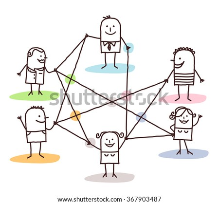 group of people connected by lines - stock vector