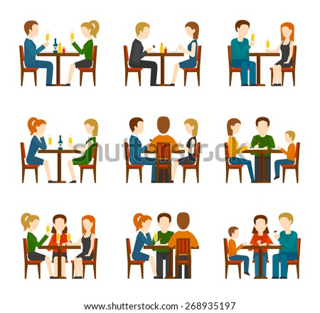 Group of people eating and talking in restaurant or cafe flat icons set isolated vector illustration - stock vector