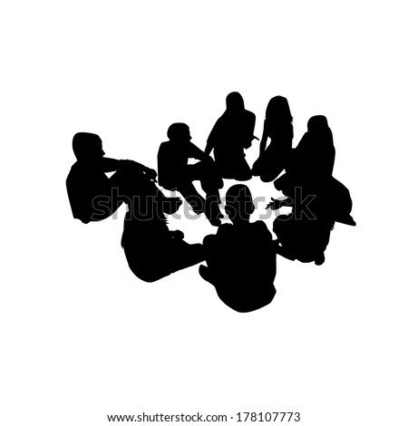 group of people in a circle . Vector  - stock vector