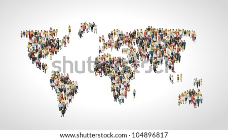 Group of people making a earth planet shape - stock vector