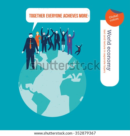 Group of people saying together everyone achieves more. Vector illustration Eps10 file. Global colors. Text and Texture in separate layers. - stock vector