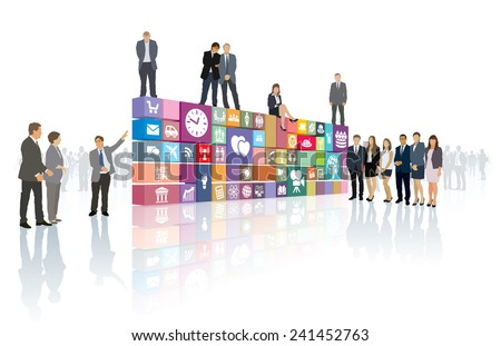 Group of people shows now developed web page or software - stock vector
