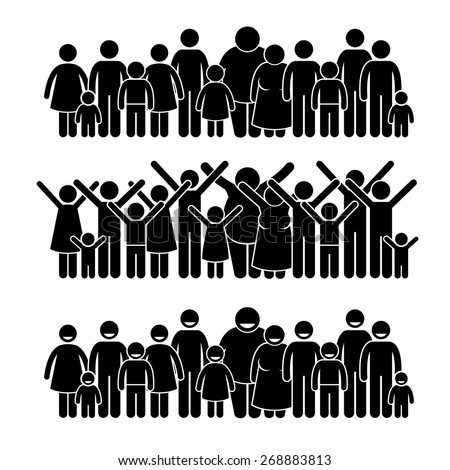 Group of People Standing Community Stick Figure Pictogram Icons - stock vector