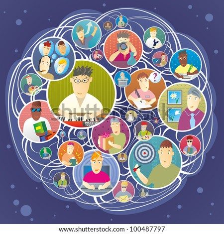 Group of people who actively use social network - stock vector