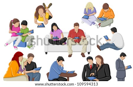 Group of people with tablets - stock vector