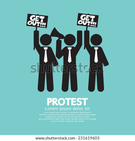 Group Of Protester Graphic Symbol Vector Illustration - stock vector