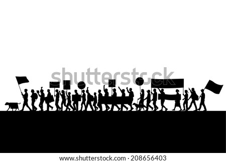 Group of protesters silhouette - stock vector