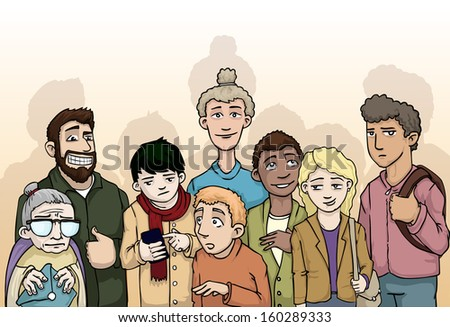 Group of random, various people, vector illustration - stock vector