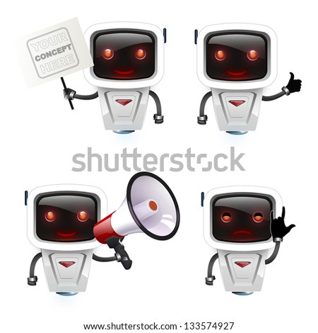 group of robots with different concepts. - stock vector