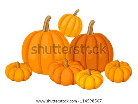 Group of seven orange pumpkins. Vector illustration. - stock vector