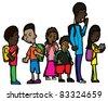 Group of six schoolchildren on isolated background - stock vector