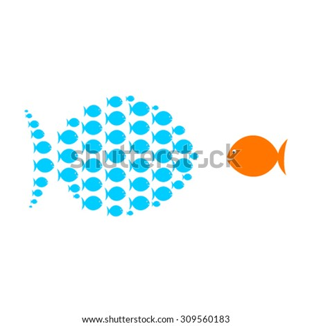 group of small fish united with big fish concept design vector - stock vector