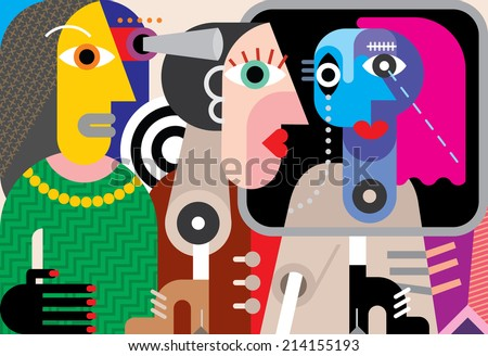 Group of strange people - abstract art vector illustration. - stock vector
