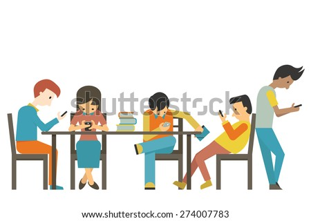 Group of student at teen age, using smartphone in concept of smart phone addiction. Flat design.  - stock vector