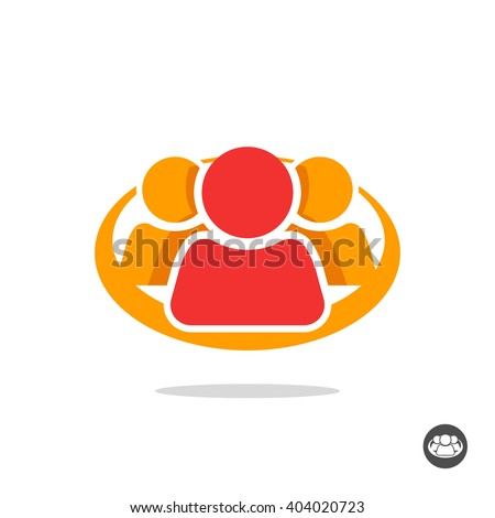 Group of three people logo sign, organization icon symbol, abstract family, team lead, leader, friends unity concept, teamwork, union, cooperation, support social flat colorful icon design isolated - stock vector