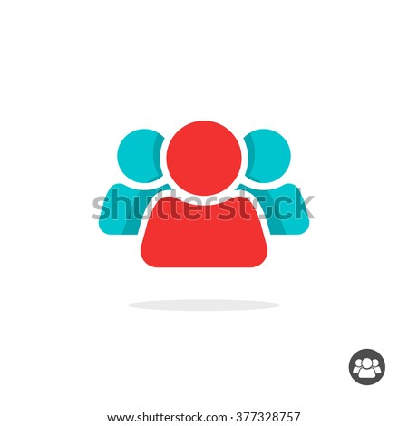 Group of three people logo sign, share icon symbol, button, abstract family, team lead, leader, friends concept, teamwork, union, cooperation, support modern social flat colorful icon design isolated - stock vector