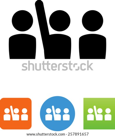 Group of three people, one with a raised hand. Vector icons for video, mobile apps, Web sites and print projects.  - stock vector