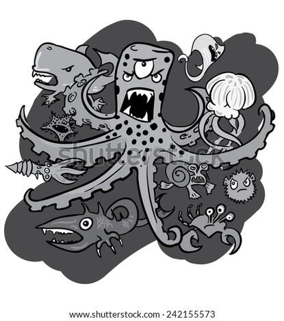 Group of underwater monsters, vector, monochrome - stock vector