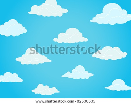 Group of vector clouds on a blue sky - stock vector