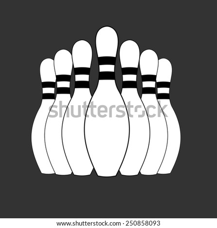 Group of white bowling pins at the end of a bowling alley, skittles. sport object concept, vector art image illustration, eps10, isolated on black background, outline - stock vector